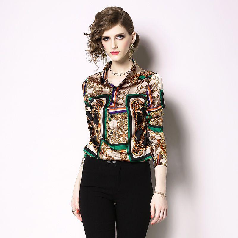 Весенняя мода Женские рубашки печати полный рукав отложной воротник блузка рубашка 2041