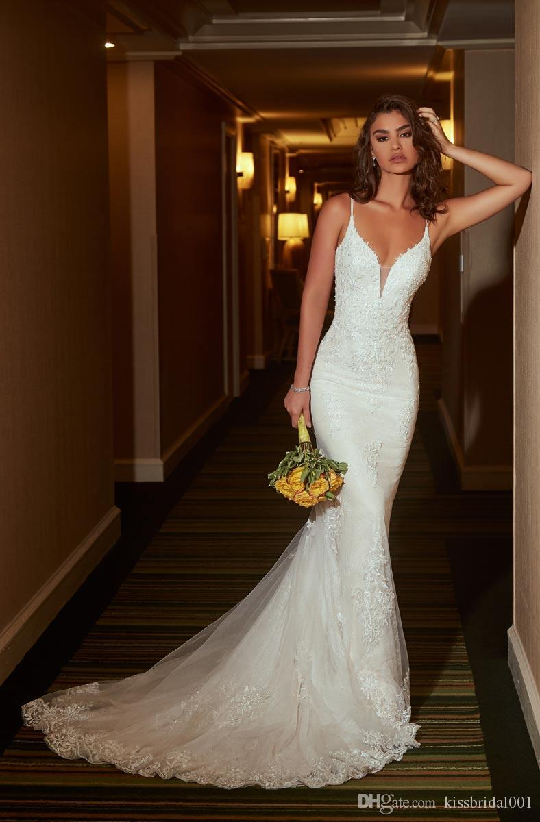 Open Back Mermaid Wedding Dresses Spaghetti Plunging Neckline Lace Wedding  Dress Bridal Gowns Sexy Bride Formal Gown Canada 2019 From Kissbridal001,