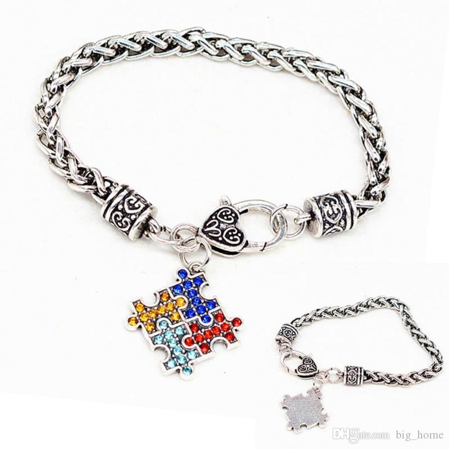 Autism Awareness Jigsaw Bracelet Puzzle Square Enamel Chain Colorful Fashion Kids Jewelry Novelty Items Party Gifts LJJ_TA702