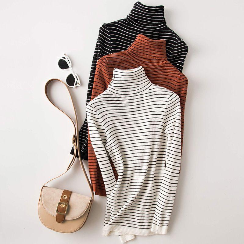 여성용 스웨터 셔츠 2021 화이트 니트 스트라이프 긴 소매 터틀넥 여성 슬림 스웨터와 풀오버 펨 메이트 트리코