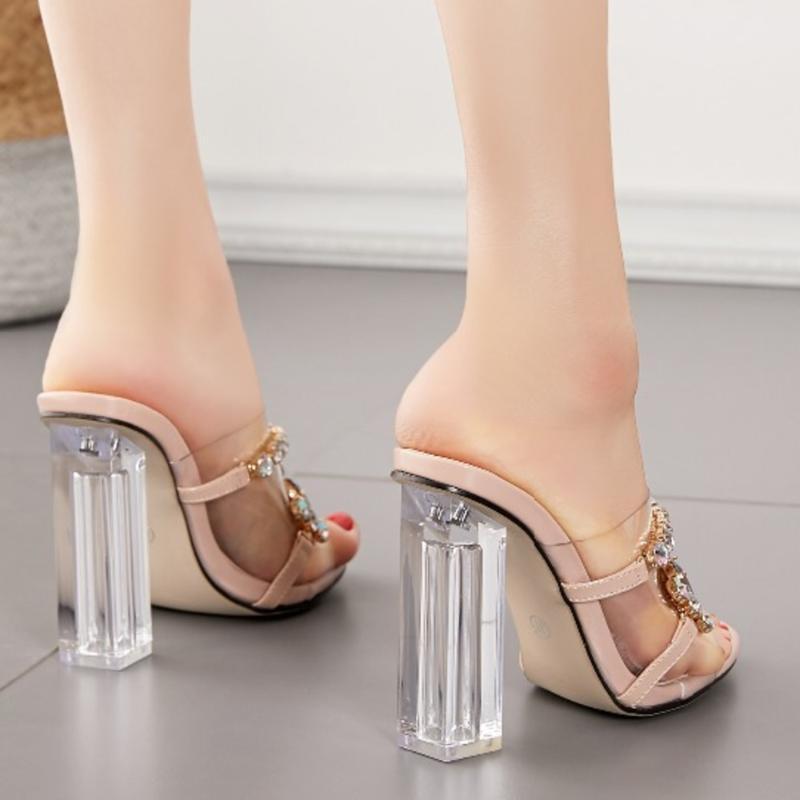 Moda Diamond Cristal Slides claro de verão PVC transparente Chinelos Women Shoes Peep Toe Salto Alto mulas Vestido Bombas