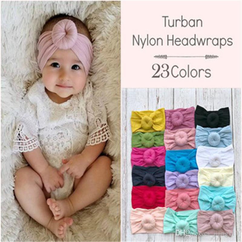 Ins neonate Top Knot fasce 23 colori solidi Bambino Nylon Boemia fascia Ragazze Turbante bambino dei capelli accessori per capelli fasce Headwrap