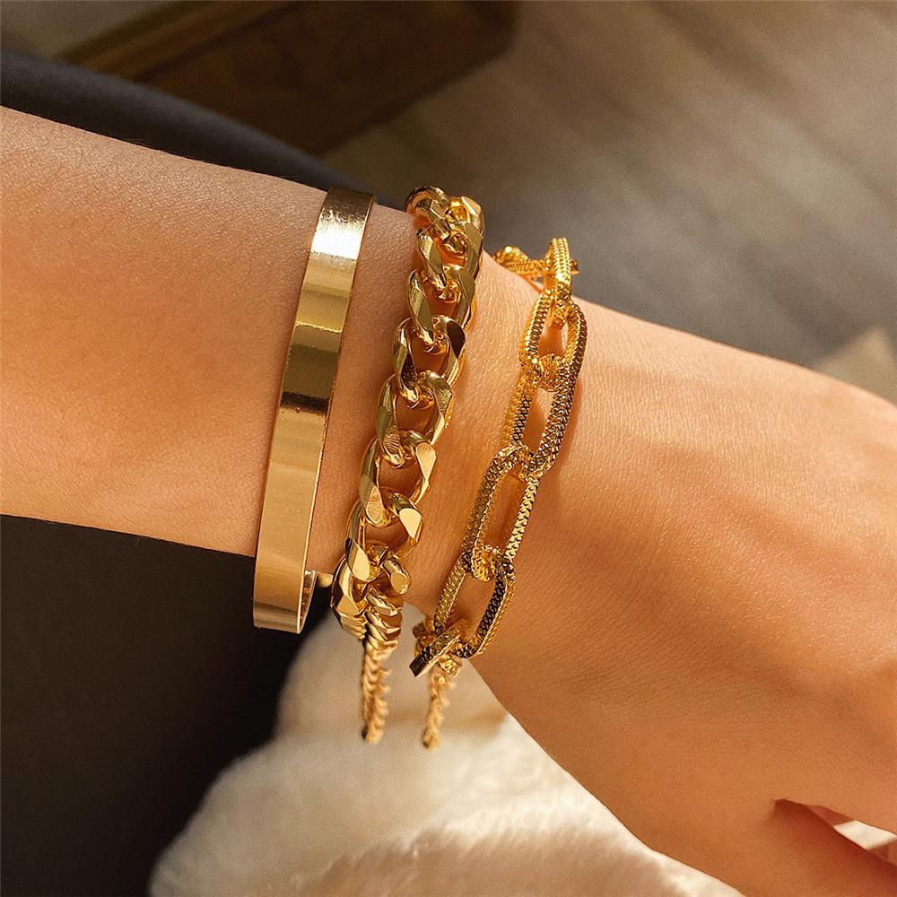 3pcs Set Fashion Exaggeration Metallic Texture Bracelets Gold Silver Chain Smooth Surface Bangle Party Jewelry FJ095