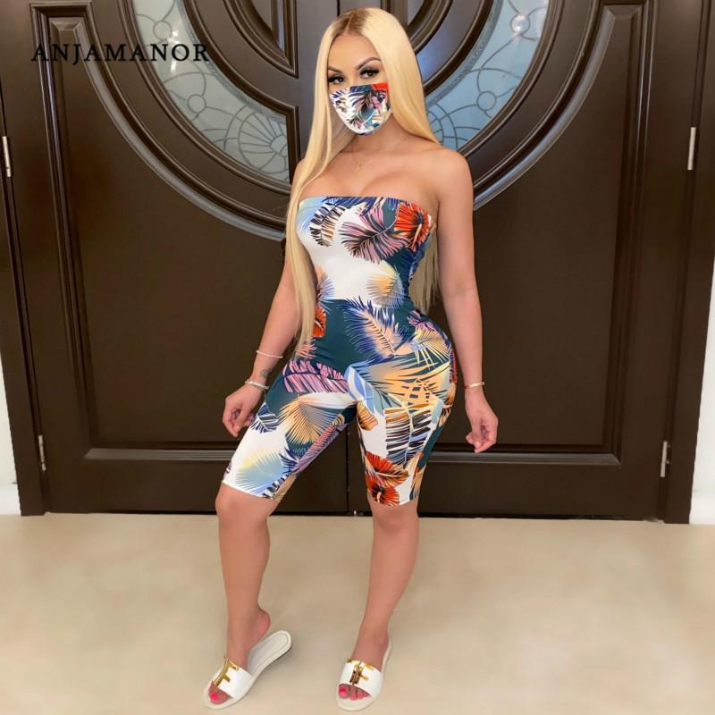 ANJAMANOR Tropical Print Tube Top Bodycon Romper Shorts Sexy Playsuit Plus Size One Piece Jumpsuit Women Summer 2020 D29-AB11 T200704