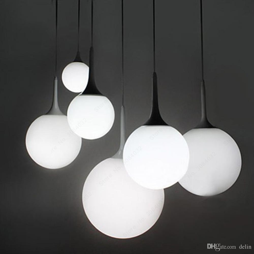 Lait moderne Globe en verre Suspensions de l'ombre pour manger Bar Chambre Restaurant décoratif Kugellampe suspendu Pendentif Eclairages