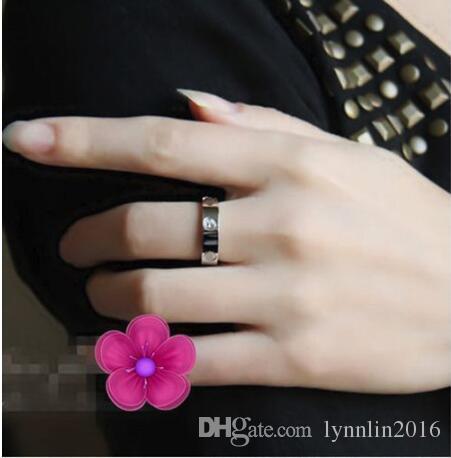 Anéis de amor de aço inoxidável clássico 6mm ouro subiu de prata de ouro casal de Casamento anel para homens mulheres noivado masculino feminino aliança tamanho 6-13