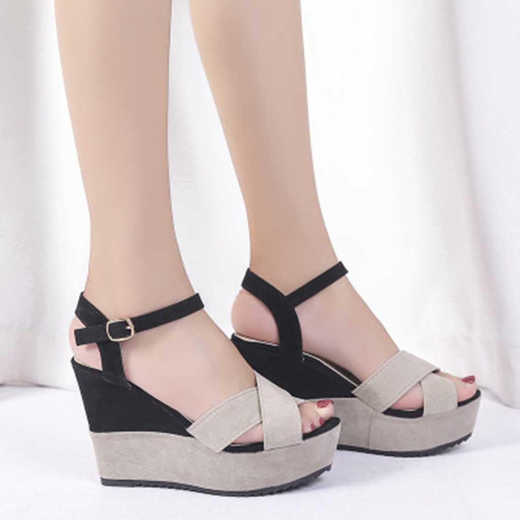 Женщина сандалии высоких каблуках женщины сандалии плоские повседневная обувь лето сандалии женщин 2020 Летняя обувь Подлинная Платформа