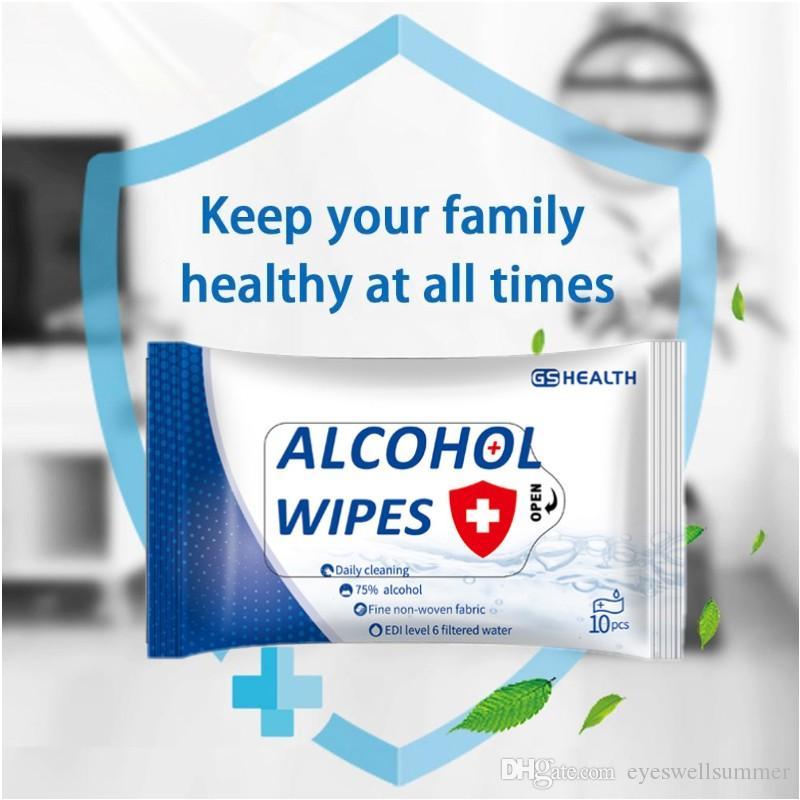 10 PCS DISINFEZIONE Pulire Carta il 75% del tessuto tamponi imbevuti di alcool Pad tamponi antisettici sterilizzazione Prevenzione Pulizia