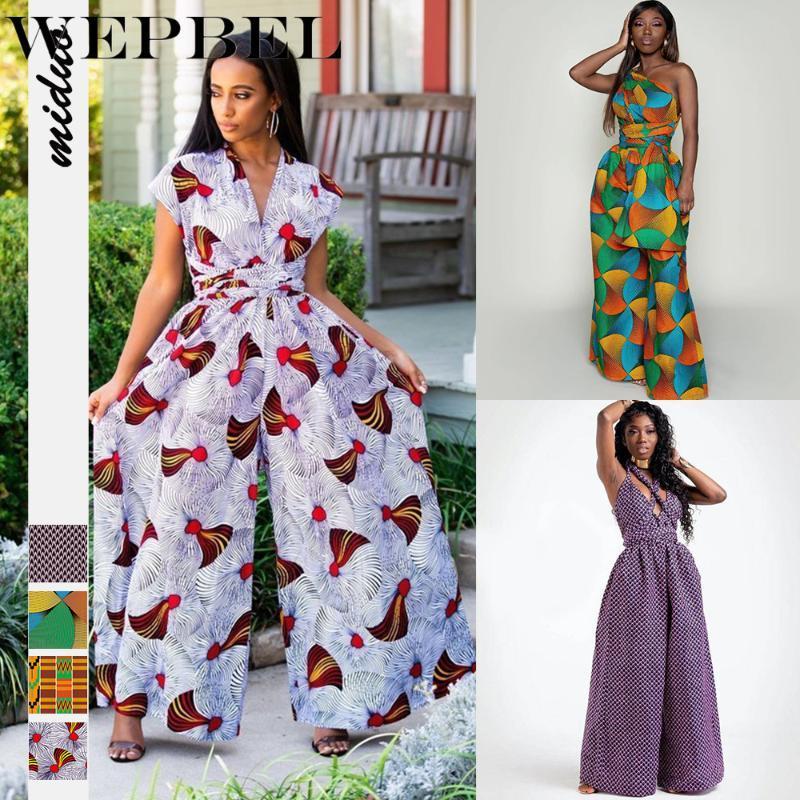 WEPBEL Женщины Комбинезон ремень Ближний Восток клуб Комбинезоны Полная длина брюки Цифровая печать Африканский стиль