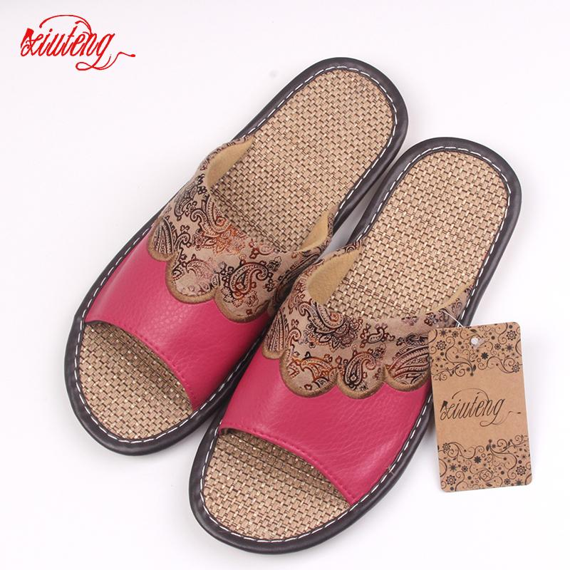 Xiuteng 2018 Summer/Autumn Genuine Cowhide Leather Women House Slippers Flat Flax Shoes Indoor Feminina Sandals Slippe 3 Color T191018