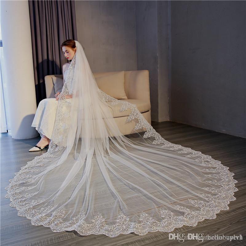 Один слой дешевый белый тюль цвета слоновой кости длинные свадебные фаты с кружевной аппликацией 3 метра невесты свадебная фата