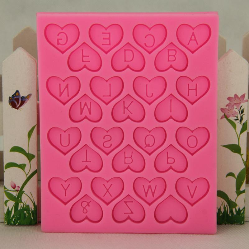 L'alta qualità nuova figura del cuore di disegno di lettera della muffa del silicone del cioccolato della caramella bambini Torte di compleanno decorazioni mestiere dello zucchero cottura strumenti di promozione