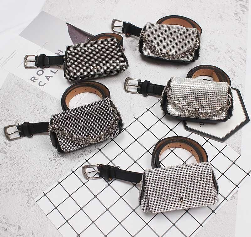 Bolsas de la cintura 2021 Funda completa de rhinestone Funda Fanny Packs Mujeres Moda PU Cinturones de cuero con bolsa de cristal Moneda Lipstic Mini Dinero