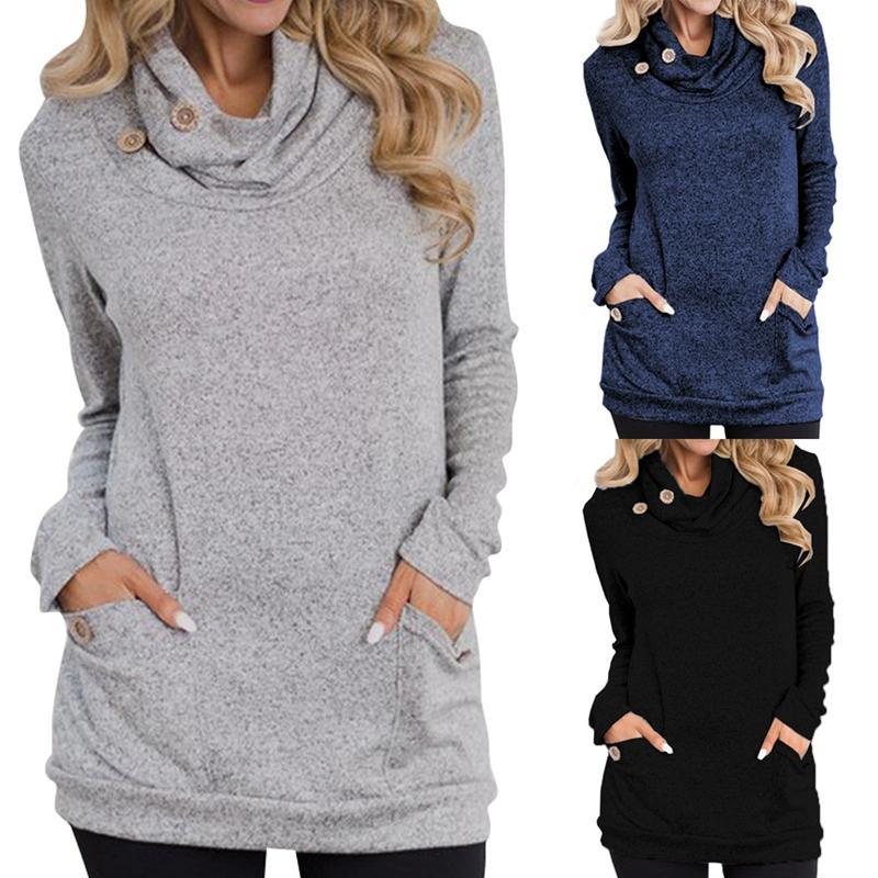 Winter-Herbst-Frauen Hoodies Weiblich Warm Kapuzen-Sweatshirt Langarm-Taschen-beiläufig lose Pullover Tops