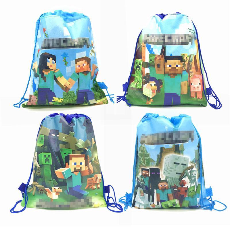 Mining Pixel gioco a tema del partito dei capretti del regalo di compleanno sacchetto per visitatori per feste tessuti non tessuti sacchetto di acquisto dello zaino Drawstring