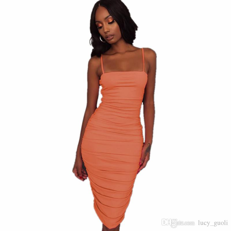 Fashion Spaghetti Strap Pleated Sexy Bodycon Dress Sleeveless Slash Neck Strapless Summen Women Bandage Dress Sexy Backless Club Party Dress