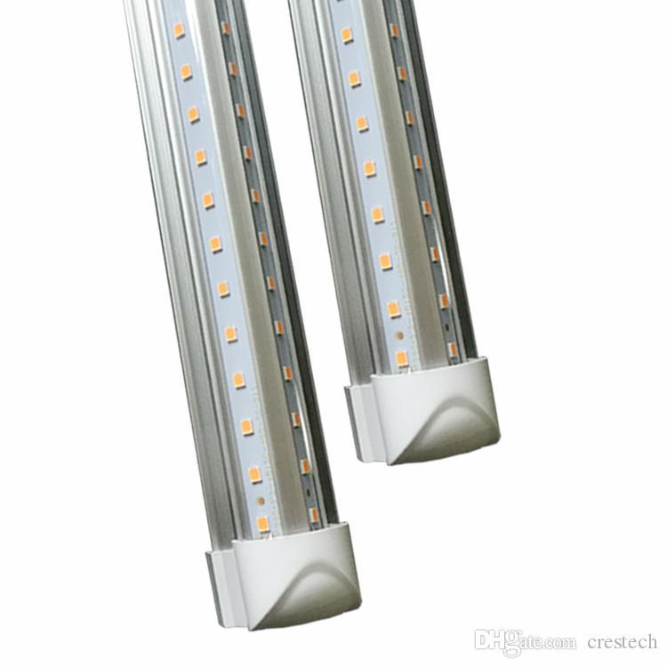 LED Bulb T8 V shaped Integrated 8 ft Led tube light 2.4m 8ft 72W AC85-265V led tubes warranty 2 years Stock in USA 25pcs