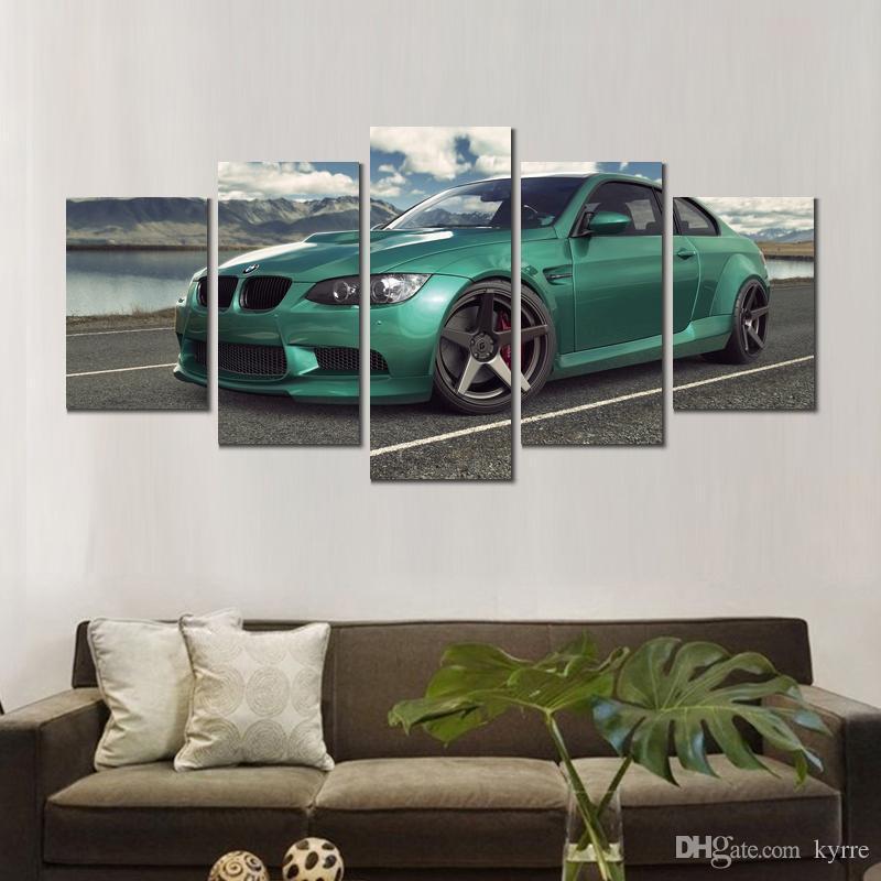 Impressions sur toile peintures bmw auto voiture vert 5 ensembles imprimer des images de mur pour la décoration de la chambre