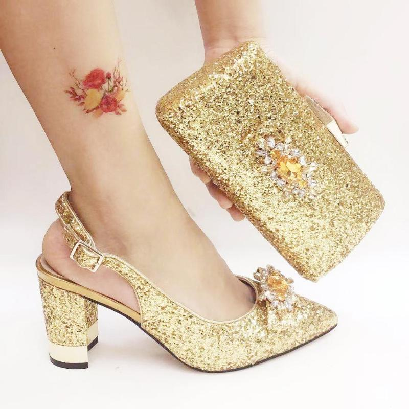 Gold Silver Blue Fashion Wedding High Heeled Sandals Glitter Women Pumps Ladies Shoe and Bag Set High Heels with Matching Bag