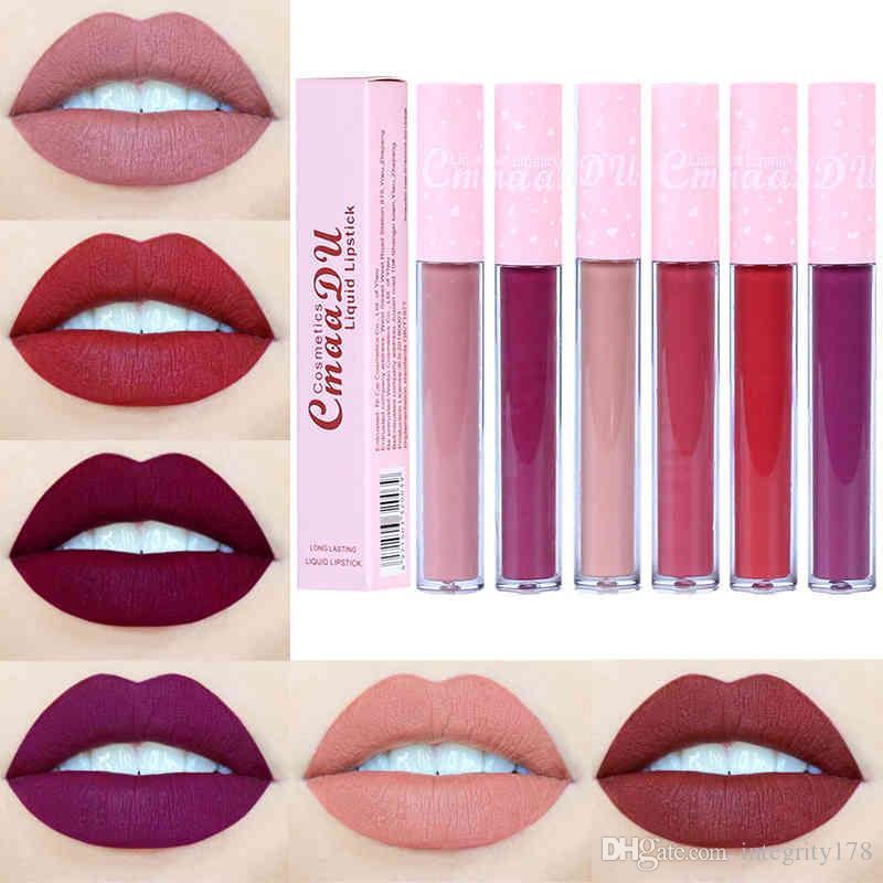 CmaaDu 6 색 자연 보습 액상 립스틱 매트 핑크 튜브 스틱 컵 롱 글로스 립 글로스