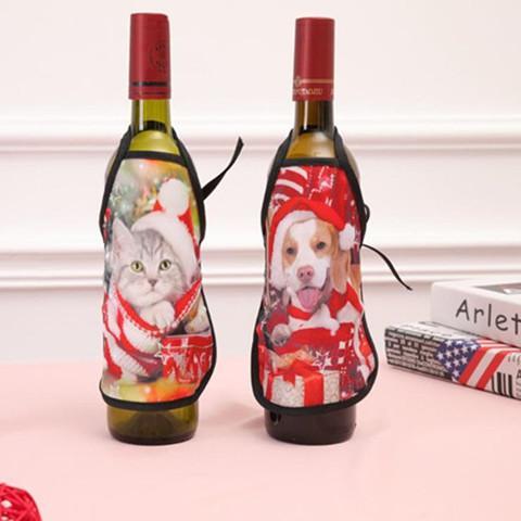 Mini Tablier de Noël Cartoon Bouteille de vin couverture vêtements cas spécial bar bouteille KTV cas Décorations de Noël Livraison gratuite LXL381Q-1