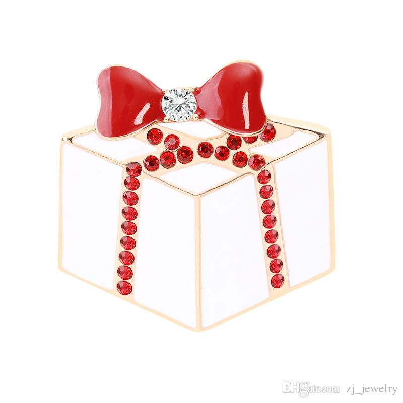Christmas Theme Brooch Pin cute Christmas Cake Red Bow Brooch Personality Trend Brooch Best Christmas Gift