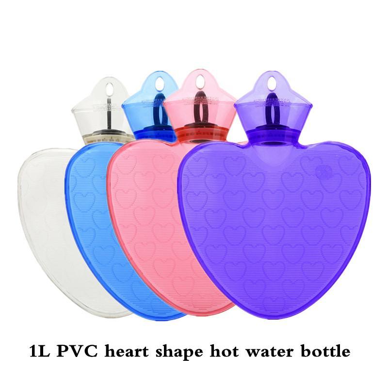 1000ml heart shape pvc rubber hot water bottle hot water bag fashion design hot water bottle bag warm body and warm hands T191109