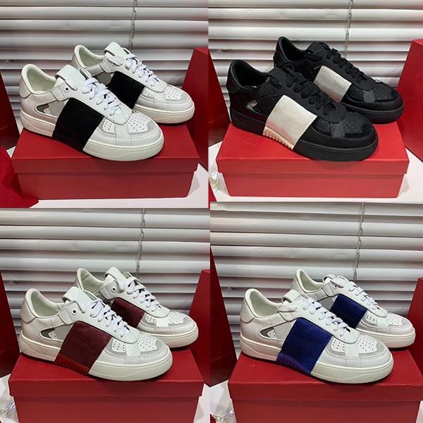 Yeni Geliş Erkekler Kadınlar VL7N Kabartmalı Deri Sneaker Siyah Beyaz Süet Flats Ayakkabı Patchwork Klasik Casual Eğitmen Büyük Boy 35-45