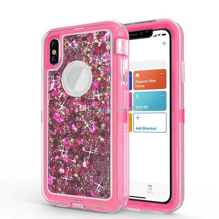 Heavy Duty Case for Samsung Note 10 S9 Plus Shockproof Liquid Quicksand Glitter Case For iPhone XS Max XR 8 No Clip Opp Bag