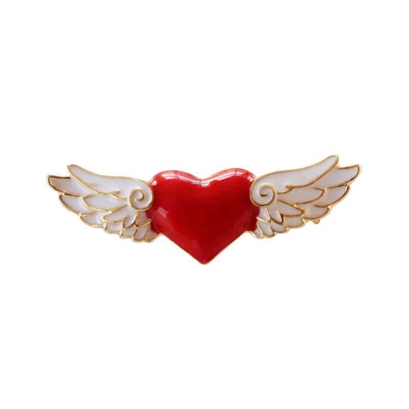 10pcs / lot acessórios de moda jóias pin cartão de metal dourado esmalte captor anjo de asa broche de coração