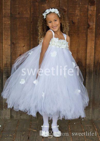 2020 Beyaz Yeni Kabarık Tül Spagetti sapanlar Çiçek Kız Elbise A Hattı Ayak bileği Uzunluğu İlk Communion Elbise Kız Yarışması Elbise Ucuz