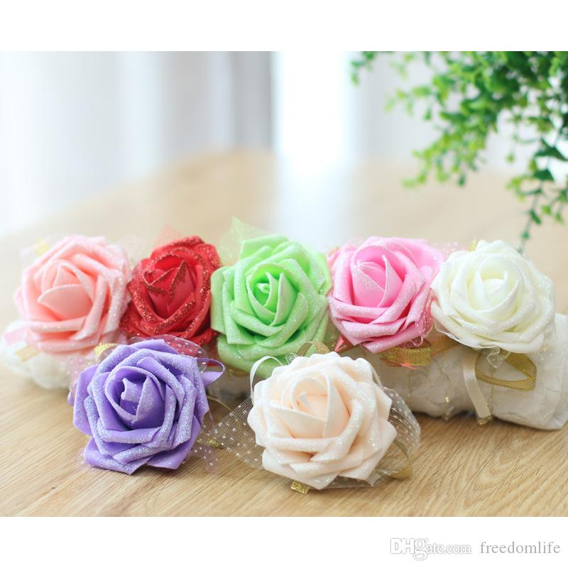 Real image Cheap pink bride bridesmaid wrist flowers wedding supplies ribbon Wedding Flowers for wedding accessories Prom Flower