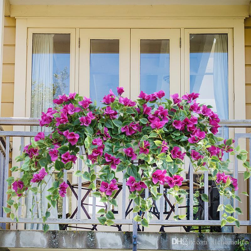 인공 가짜 꽃 포도 나무 플라스틱 꽃 등나무 장식 꽃 매달려 벽에 매달려 난초 아트 시뮬 장미