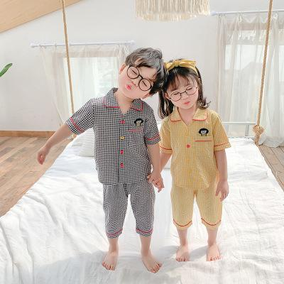 crianças bebê xadrez desenhos animados pijama terno verão meninos infantis e confortável serviço de casa meninas irmãos de duas peças terno