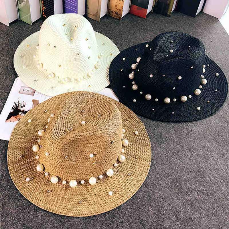 2020 Новые летние британский жемчуг бисероплетение плоского соломенной шляпы Заливка ВС шляпу леди пляж Солнцезащитной мод джаза шапочки
