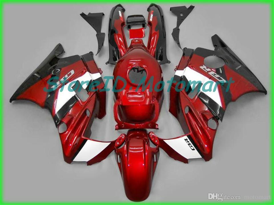 Kit carénage de moto pour HONDA CBR600F2 91 92 93 94 CBR 600 F2 1991 1994 ABS Ensemble carénage flammes noires + cadeaux HF37
