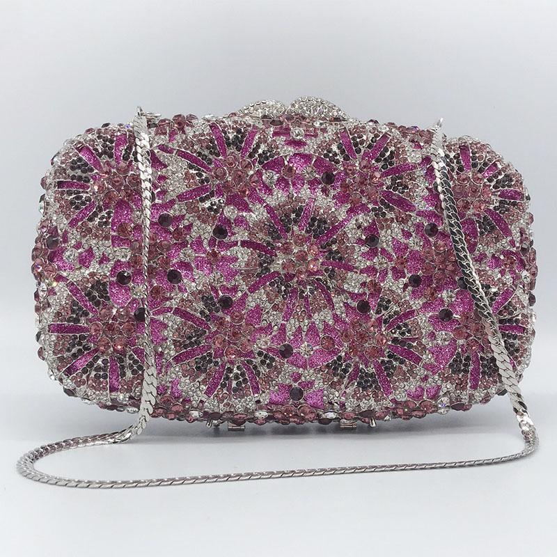 Les femmes Rhinestone sac de soirée Lady Gemstone chaîne embrayages diamant Party Sacs à main d'épaule de bal
