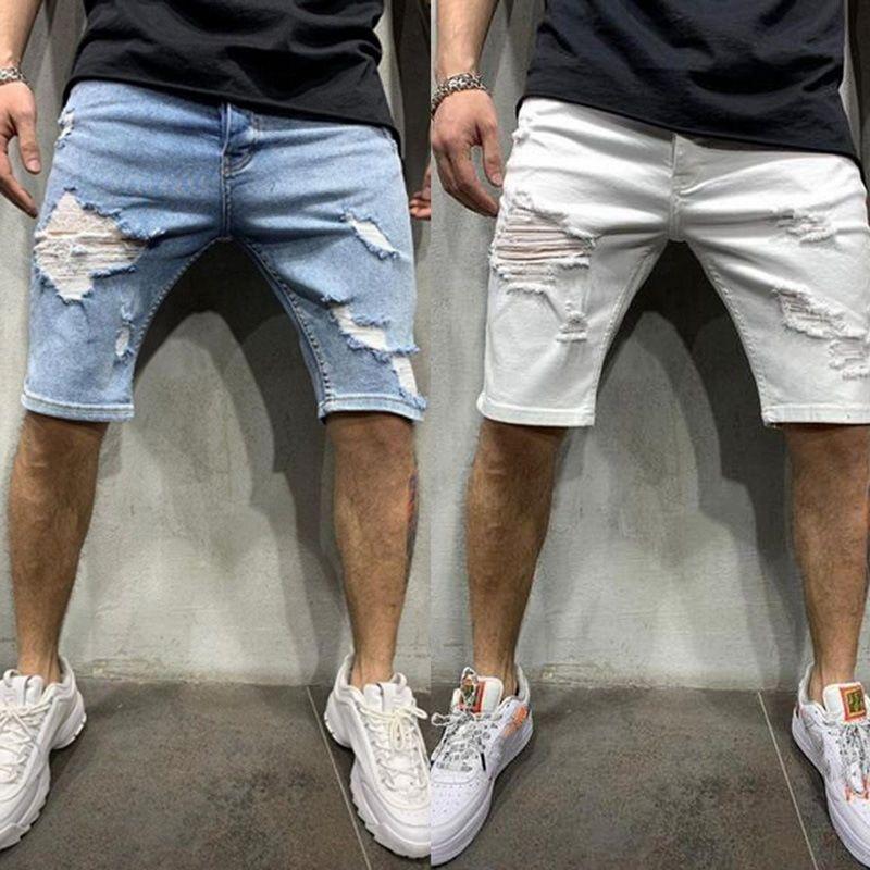 Erkek Kot Chino Şort Skinny İnce Yaz Yarım Pantolon Kargo Kot T190522