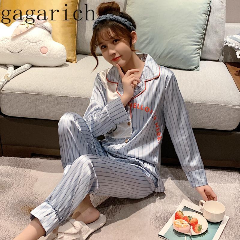 Gagarich Mulheres Dois Set Pijama Feminino Primavera-Verão manga comprida Two-Piece Set Wear bonito Estudantes dos desenhos animados Silk Início