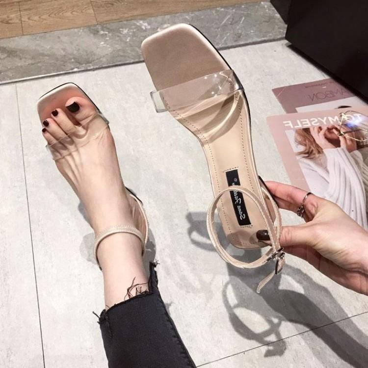 Goddess2019 Excellent Go Sexy High-heeled Woman Transparent Soft Glue Crude Sandals High With One Buckle Shoes