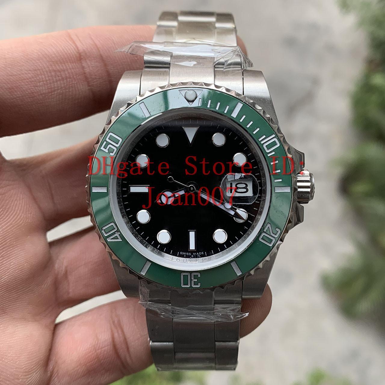 Haute qualité des montres 116610 116610LN Automatique Cadran Noir Lunette en céramique verte Mens Watch en acier inoxydable 316L Montres Hommes 40mm