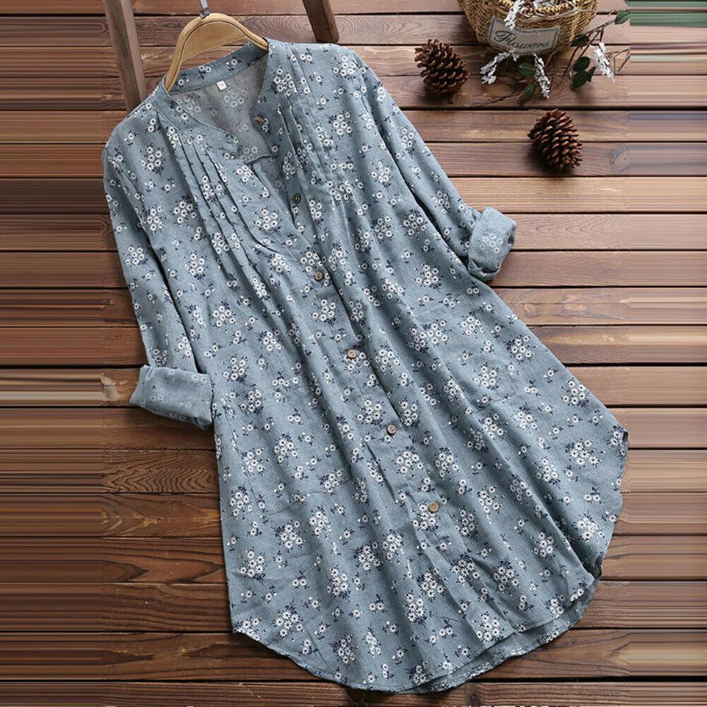 Plus Size Boho Shirts Women Long Sleeve Floral Imprimir Kaftan Baggy Longa Blusa Tops Praia Túnica Camisa Casual 3XL