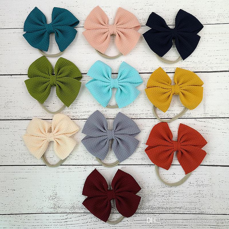 Baby Girls Bow Headband 30 couleurs Turban couleur unie Elasticité cheveux Accessoires de mode Enfants cheveux Bow Boutique arc-noeud Band Hair C1183