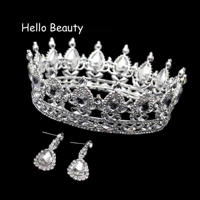 Clear Crystal Luxury Hair Jewelry Round Rhinestones Wedding Tiaras And Crowns Bridal Quinceanera Pageant Queen Tiara For Bride J190701