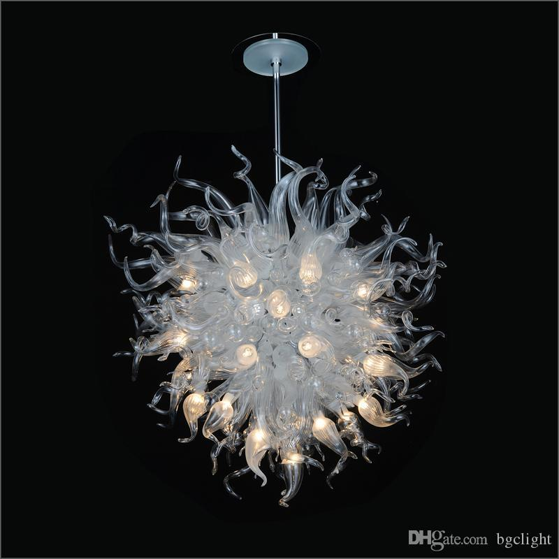 Unique Designed Ceiling Decorative Hand Blown Glass Ceiling Lights European Style Flower Designed Blown Glass Chain Pendant Lamps for sale
