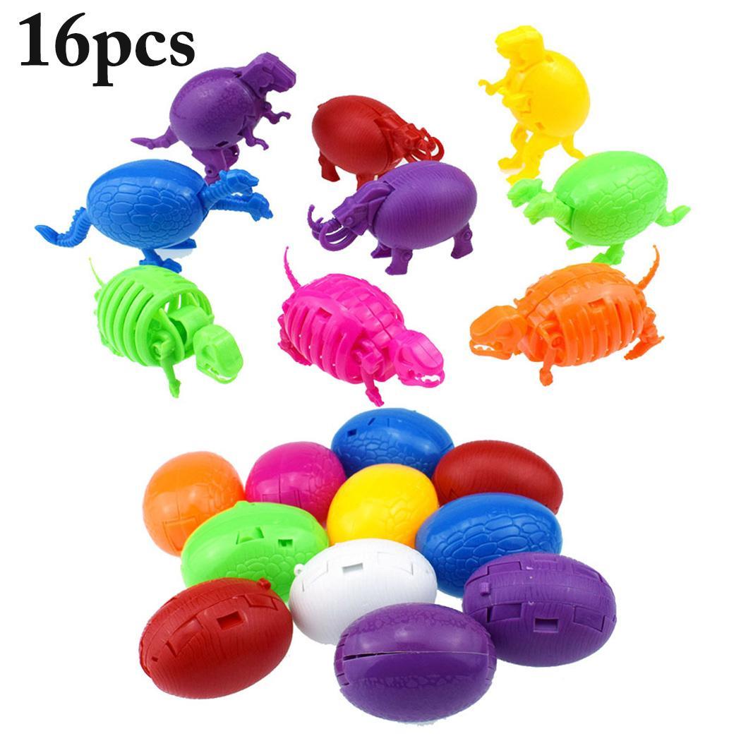 16PCS Easter Egg Toys Mini Plastic Novelty Dinosaur Egg Toys Educational Toys