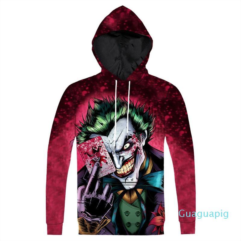 Nueva sudadera con capucha Impreso El Joker con capucha Moda animado 3D del carácter comodín impresos con capucha sudadera con capucha Tops Plus Tamaño 3XL Dropship XM08
