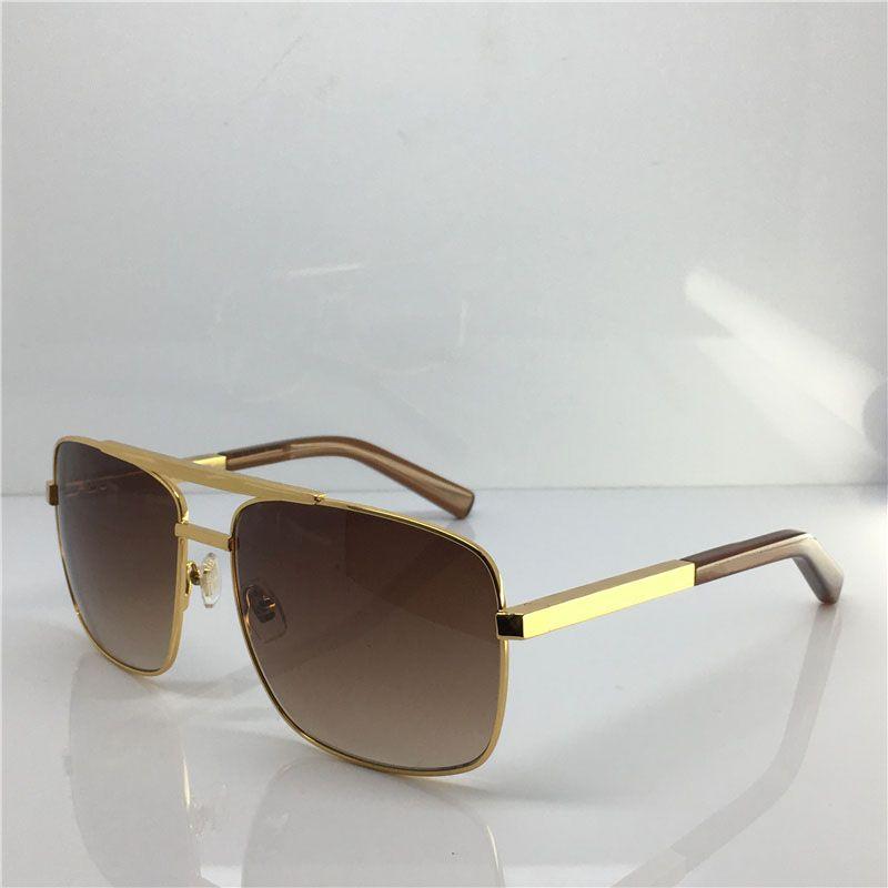 أزياء كلاسيكية 0259 النظارات الشمسية للرجال ساحة معدن الذهب الإطار UV400 للجنسين نمط خمر موقف نظارات نظارات حماية مع صندوق