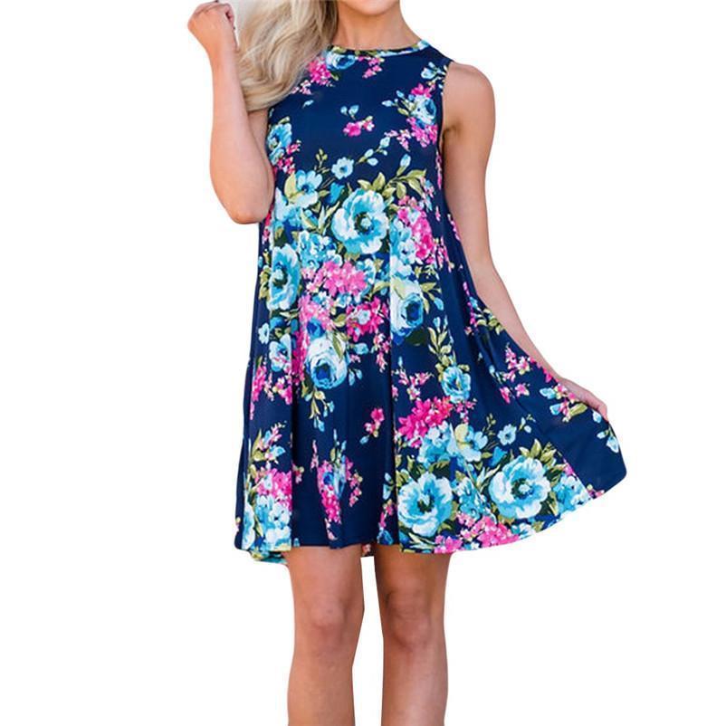 Nice New Loose Womens Casual Sleeveless Print Spin Me Round Floral Tank Shift Midi Dress Fashion Wholesaling Retailing P5