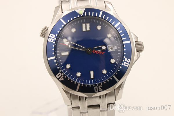 Cronômetro profissional Automático Mecânico dos homens Wtirstwatch Plantom Face Azul Completa de Aço Inoxidável 077 Limitada Série Masculino Relógio